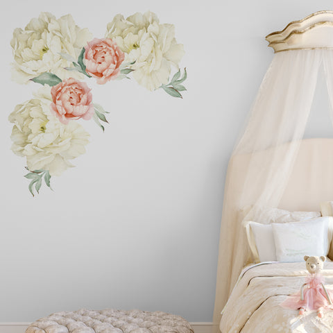 Peonies Red & Orange Floral Wall Sticker