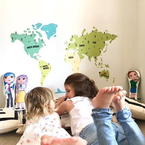 Kids Animal World Map Wall Sticker