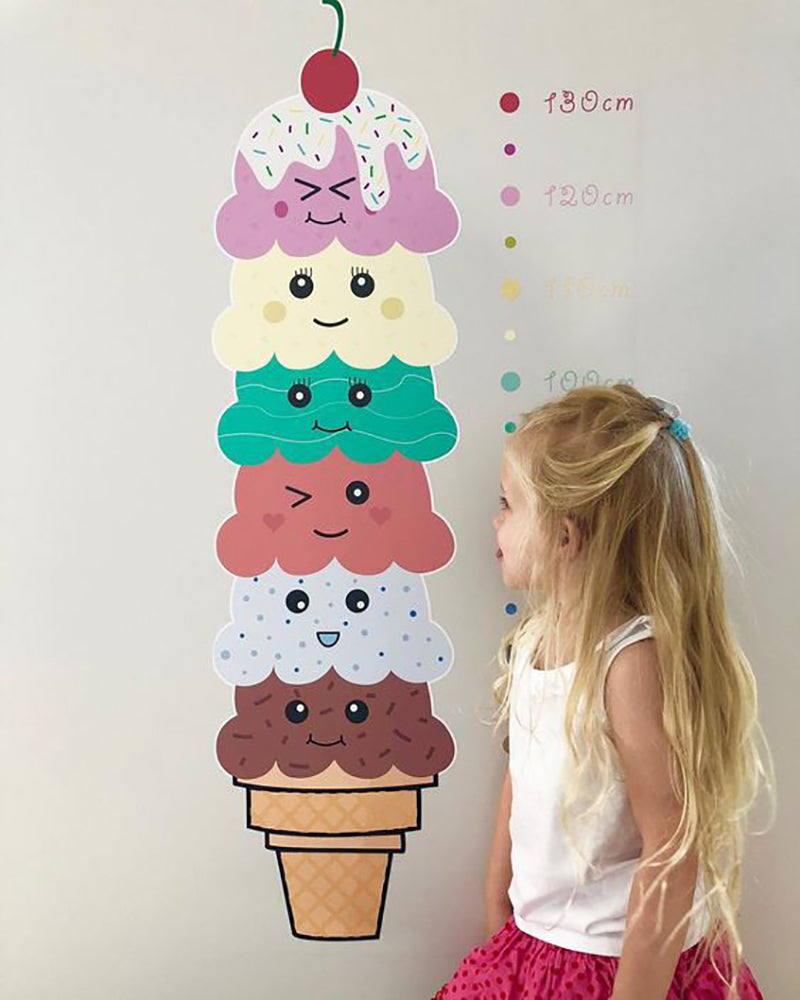 Kawaii Ice Cream Height Chart Wall Sticker