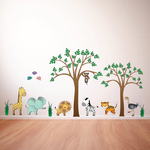 Safari Large Scene Kids Cartoon Wall Sticker