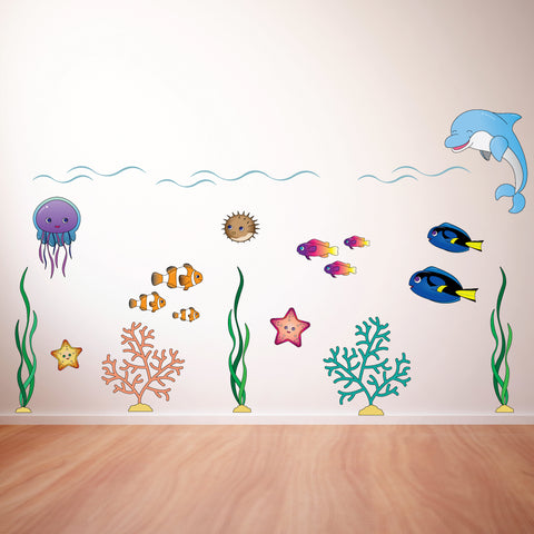 Underwater Large Scene Kids Cartoon Wall Sticker