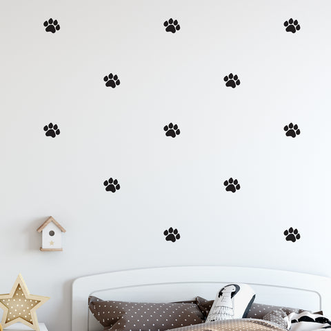 Dog Paws Wall Pattern Decal - Set of 32