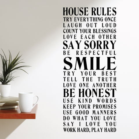 House Rules 3 Home Wall Sticker