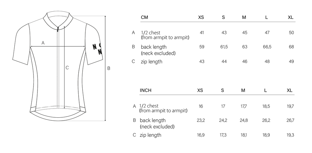 Sizing chart NGNM Performance Jersey Summer