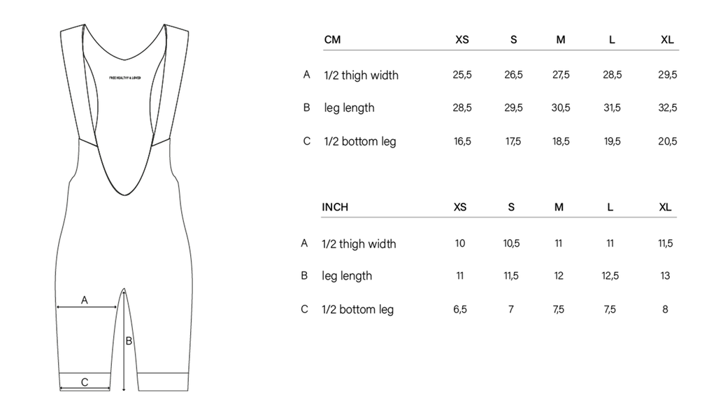 NGNM Winter Bib Shorts sizing guide