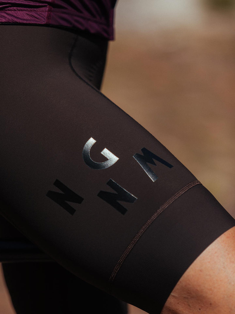 NGNM Performance Bibs Dark Brown black logo