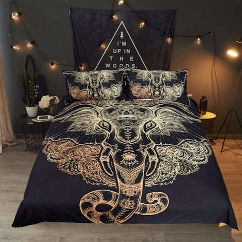 Boho Bedding Set Gold Black at HOMAURA®
