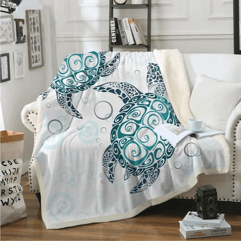 Ocean Blue Sea Turtle Fleece Blanket at HOMAURA®