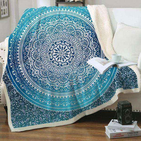 Boho Turquoise Mandala Fluffy Plush Sherpa Fleece Throw Blanket