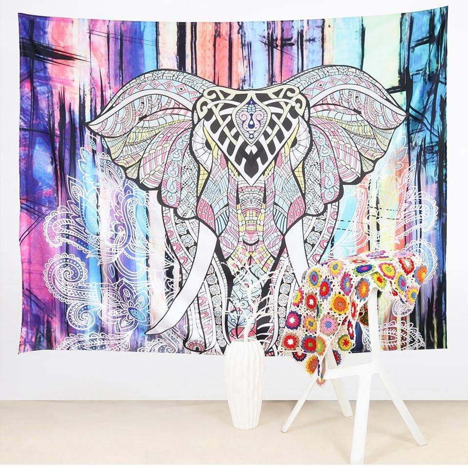Colorful Elephant Boho Wall Tapestry Wall Art at HOMAURA®