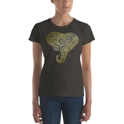Women's Short Sleeve Ornamental Elephant T-Shirt