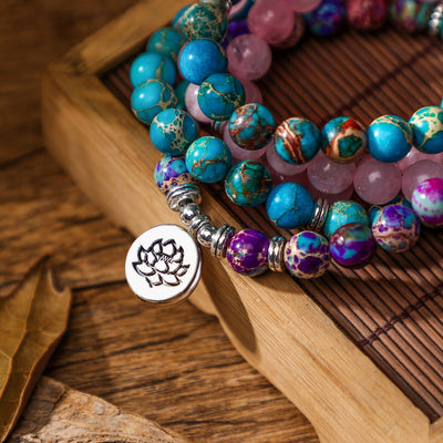 Lotus Mixed Stones Bracelet - Spiritual Jewelry
