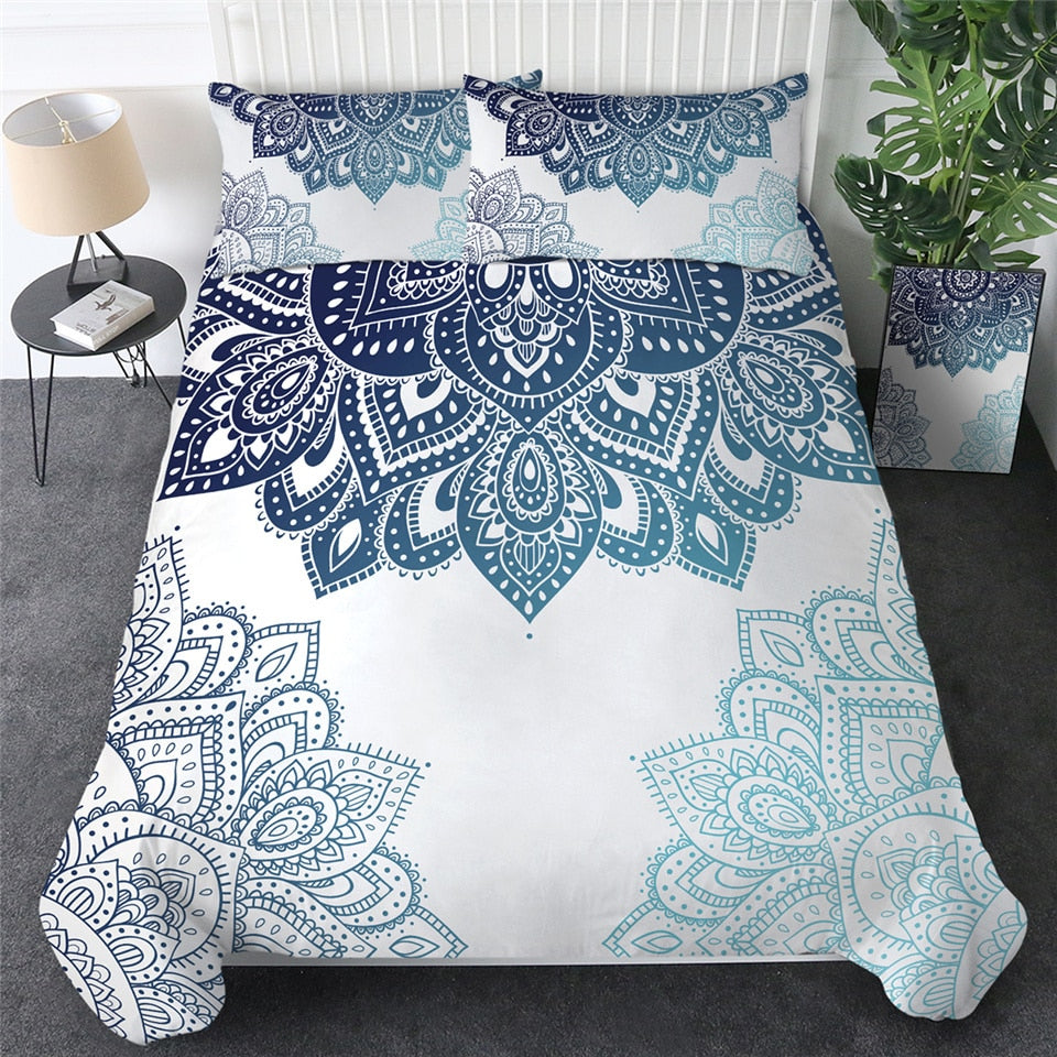 3pc Mandala Bedding Set Soft Twill Bohemian Duvet Cover with Pillowcases 200TC