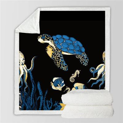 Buy Coral Sea Turtles Fluffy Fleece Throw Blanket - HOMAURA®