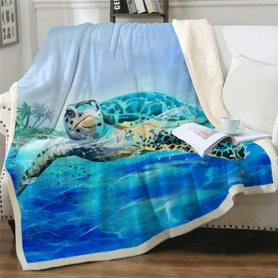 Ocean Blue Coral Sea Turtles Plush Sherpa Fluffy Fleece Throw Blankets Media
