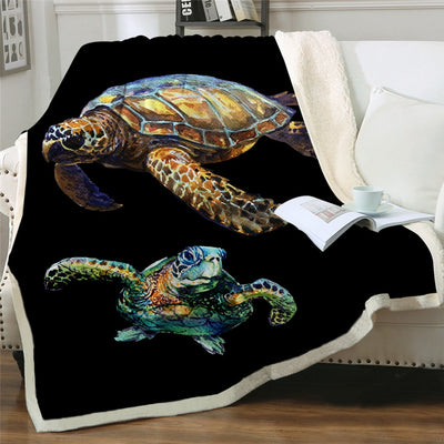 Sea Turtles Printed Fluffy Fleece Throw Blanket - HOMAURA®