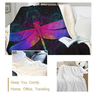 Colorful Dragonfly Mandala Fluffy Fleece Throw Blanket