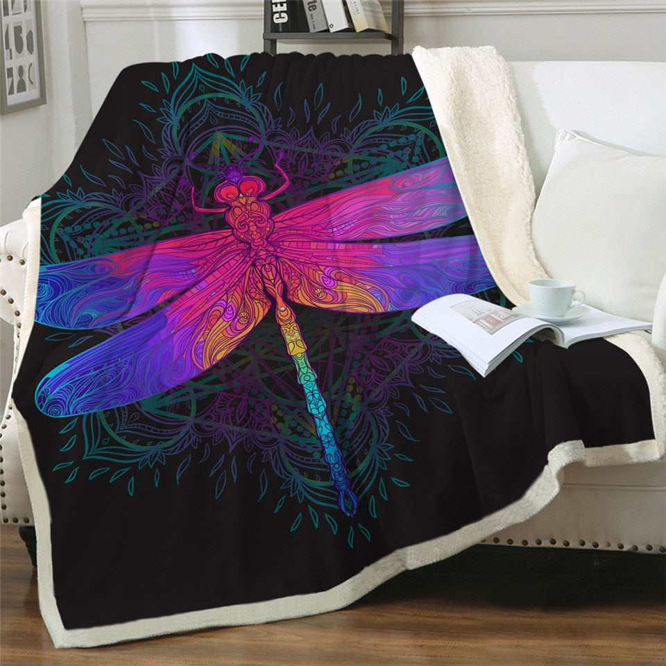 Colorful Dragonfly Mandala Plush Sherpa Fluffy Fleece Throw Blanket