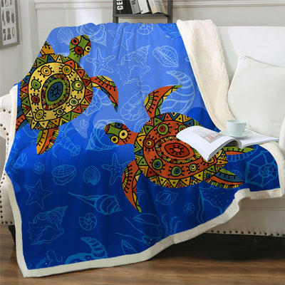 Ocean Blue Coral Sea Turtles Plush Sherpa Fluffy Fleece Throw Blankets