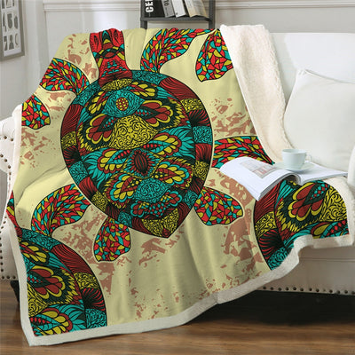 Colorful Sea Turtles Fluffy Fleece Throw Blanket - HOMAURA®