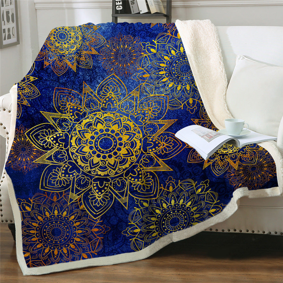 Boho Mandala Pattern Plush Sherpa Fluffy Fleece Throw Blankets