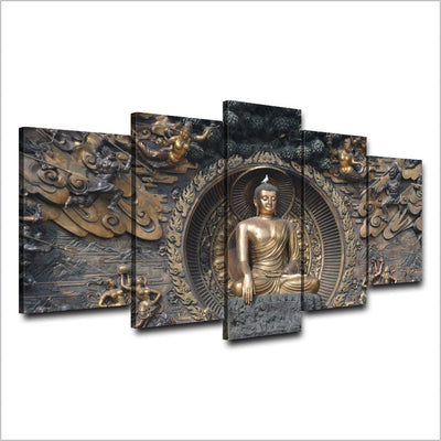 5pcs Buddha Statue Canvas Painting 5-Panel Wall Art Stunning Wall Picture for Living Room