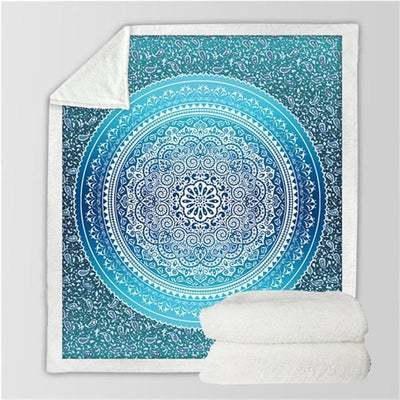 Boho Turquoise Mandala Fluffy Fleece Throw Blanket