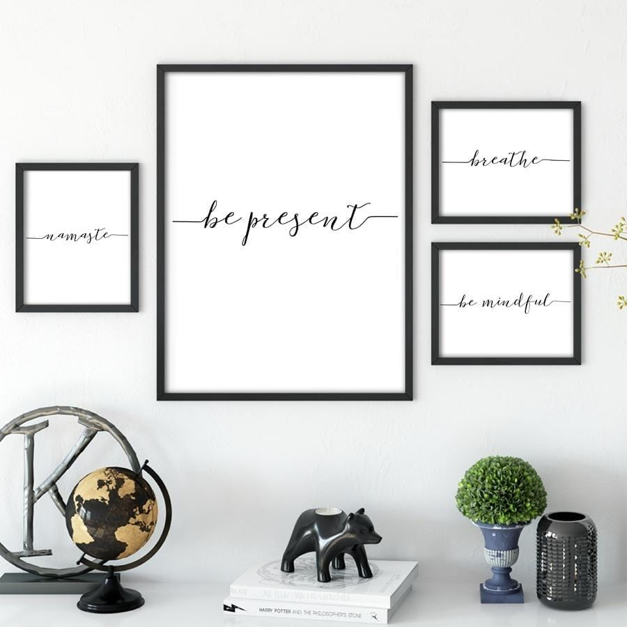 Calligraphy Poster Prints Yoga Spiritual Canvas Wall Art (Be Present, Namaste, Breathe)