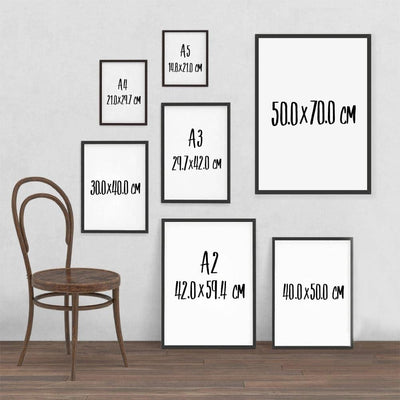 Calligraphy Poster Prints (size chart)