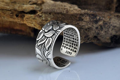 Lotus Buddha Good Luck Ring Solid Thai Silver Jewelry