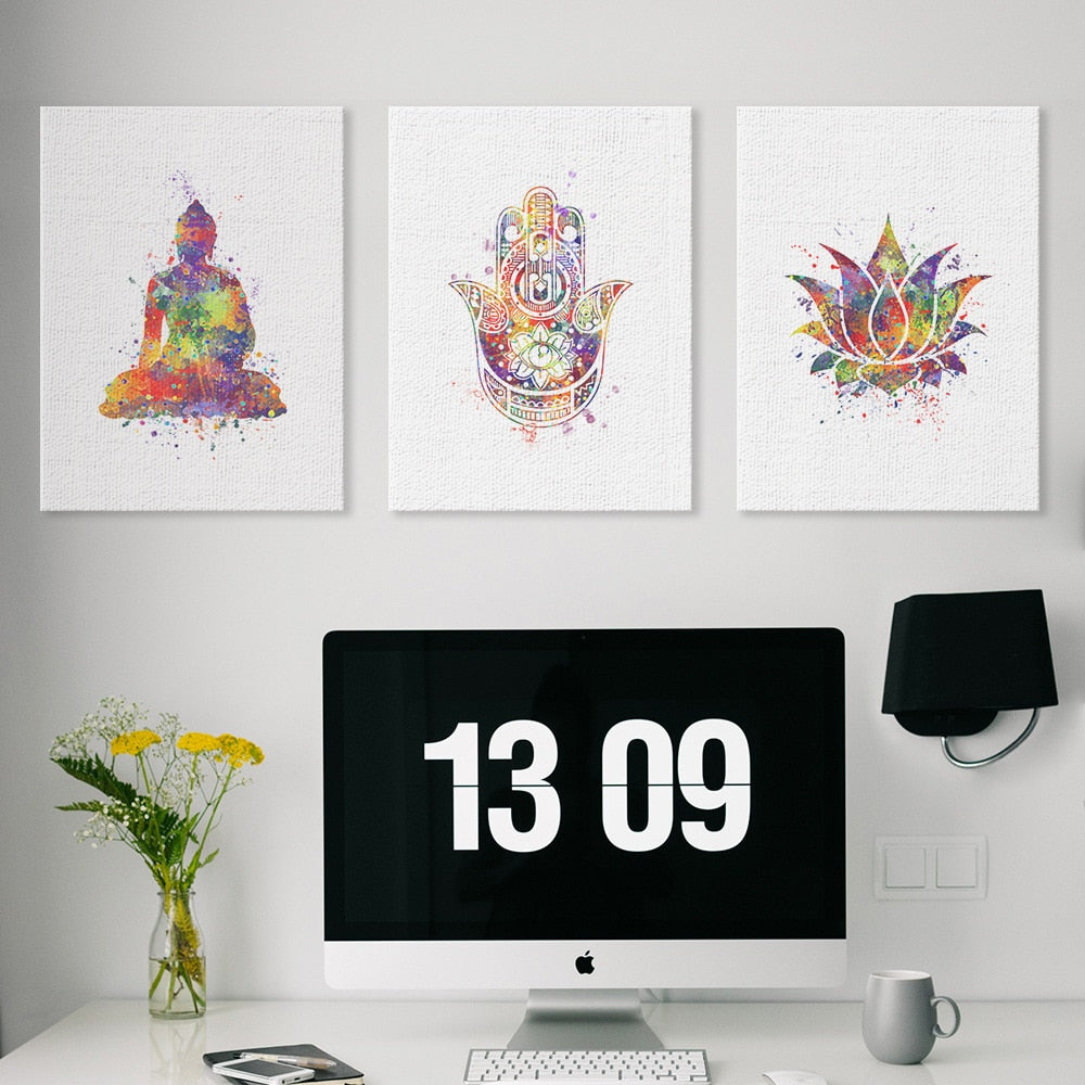 Lotus Flower Buddha Watercolor Wall Art - HOMAURA®