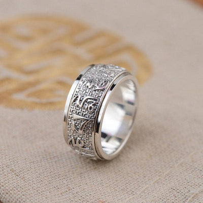 Sterling Silver S925 Buddha Mantra Ring Solid Thai Silver in Various Sizes 6 - 12
