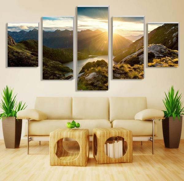 Modern Mountain and River Landscape Wall Art 5-Piece Canvas Print