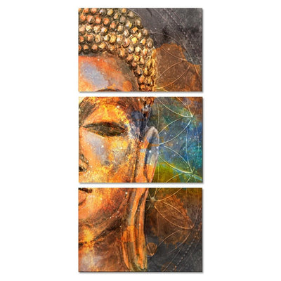 Abstract Golden Buddha 3pc Canvas Wall Art