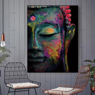 Vivid Buddha Head Painting Wall Art