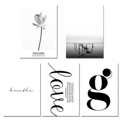 Clean Black & White Inspirational Lotus Canvas Wall Art
