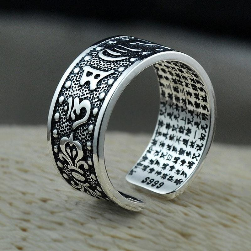Sterling Silver S925 Buddha Mantra Ring Men Solid Thai Silver Adjustable