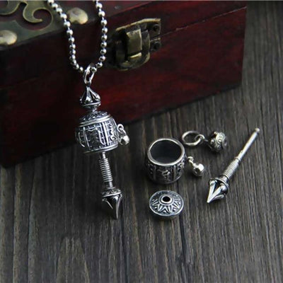 Sterling Silver S925 Prayer Wheel Tibetan Buddha Mantra Pendant (chain not included)