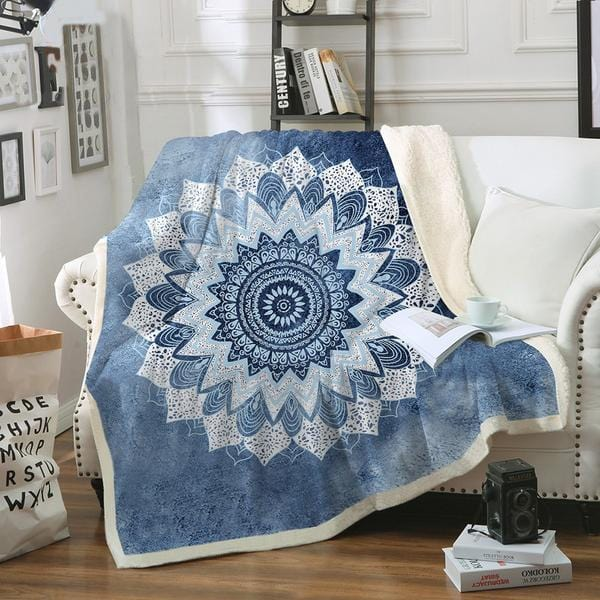 Boho Winter Blue Mandala Plush Sherpa Fluffy Fleece Throw Blanket