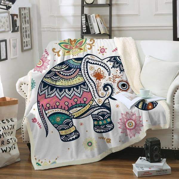 Super Soft Cozy Baby Elephant Plush Sherpa Fluffy Fleece Throw Blanket