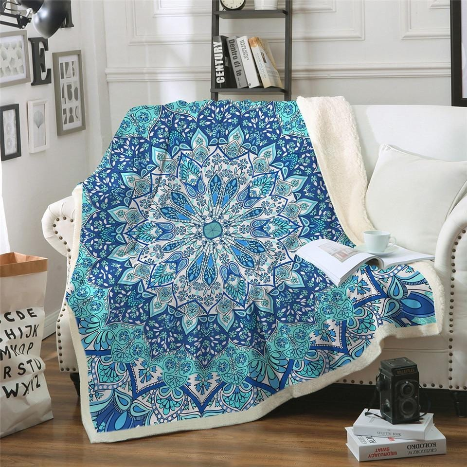 Boho Turquoise-Blue Mandala Plush Sherpa Fluffy Fleece Throw Blanket