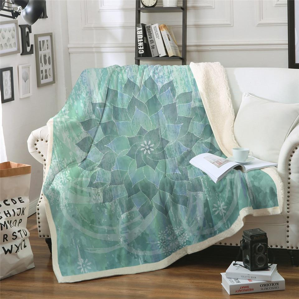 Boho Sea Green Lotus Mandala Plush Sherpa Fluffy Fleece Throw Blanket