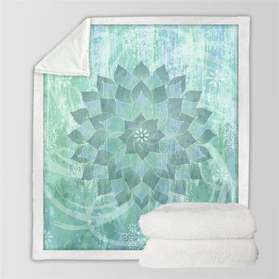 Boho Sea Green Lotus Mandala Plush Fluffy Fleece Throw Blanket at HOMAURA®
