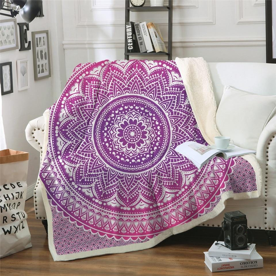Boho Pink Mandala Plush Sherpa Fluffy Fleece Throw Blanket