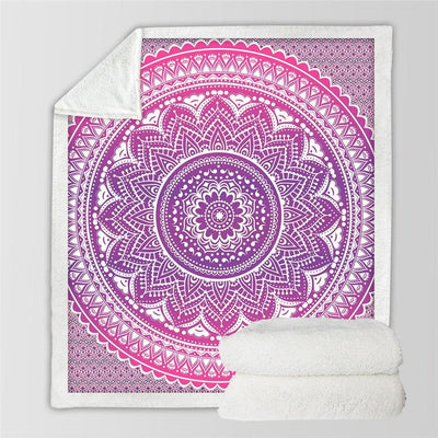 Boho Pink Mandala Plush Fluffy Fleece Throw Blanket at HOMAURA®