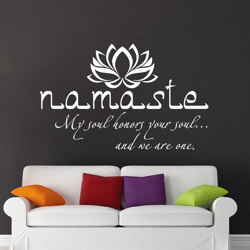 Wall Art Decal Namaste Quote Vinyl Sticker with Lotus Flower