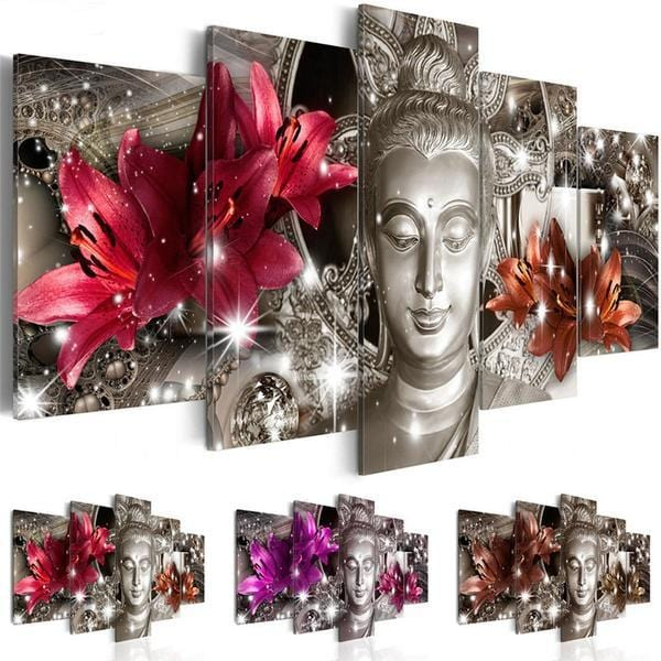 Buddha Flowers 5pc-Print Poster Canvas Wall Art