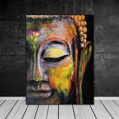 Vivid Buddha Head Painting Canvas Print Wall Art