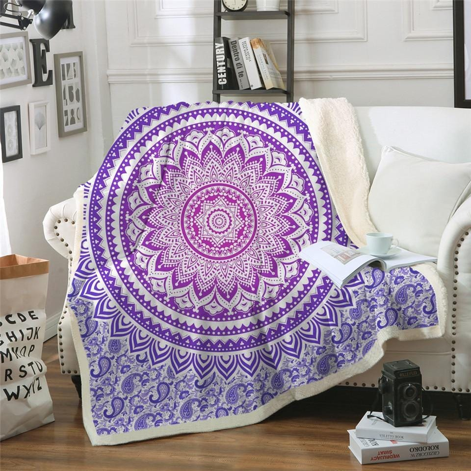Boho Purple Mandala Plush Sherpa Fluffy Fleece Throw Blanket