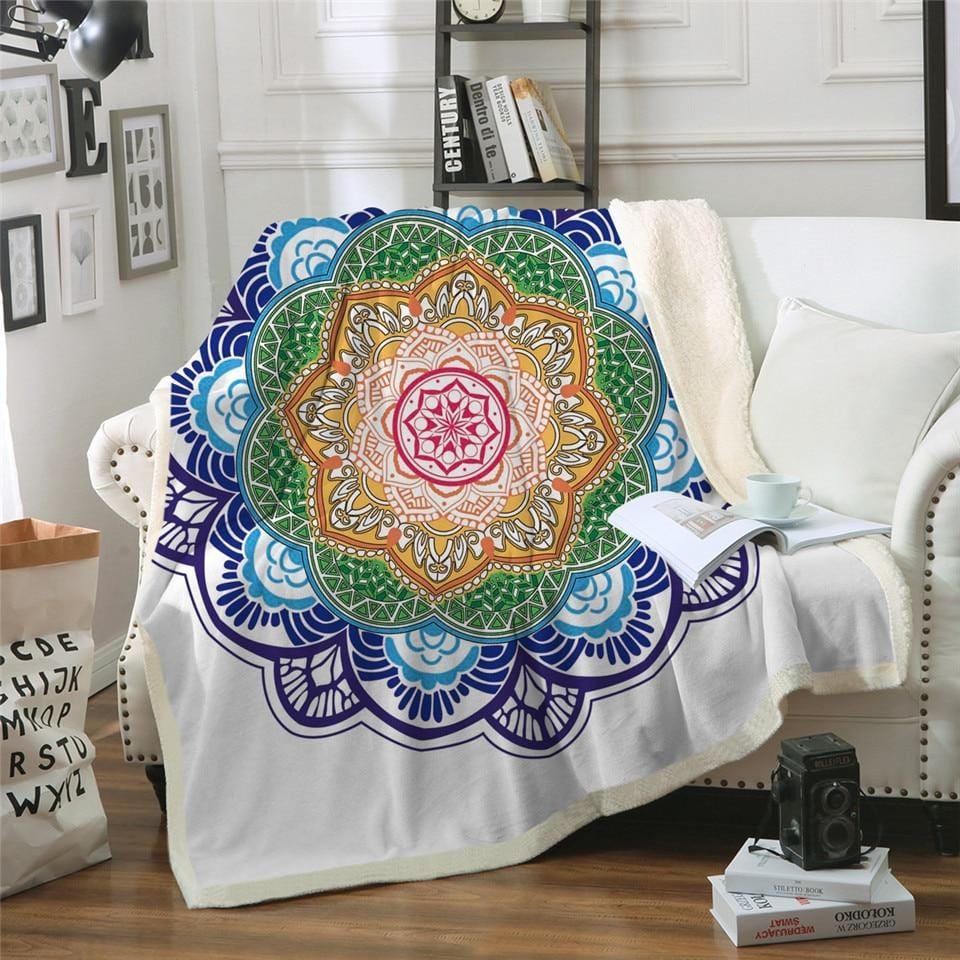 Boho Floral Mandala Flower Plush Sherpa Fluffy Fleece Throw Blanket